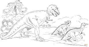 Coloriage Tyrannosaure Qui Chasse Des Trachodons Coloriages à