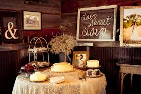 Vintage Style Country Wedding Cake Table With Sweets