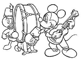 Mickey Play Music Coloring Page Pages