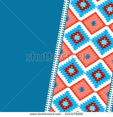 Card Pattern In Tribal Style Turkish Carpet Navy Blue Red Claret Burgundy Colorful Patchwork Mosaic
