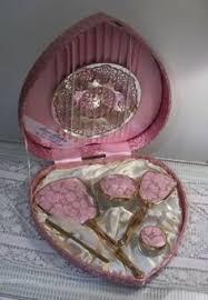 Vintage Vanity Dresser Set by Vintage Vanity Set Heart Shaped Box And Mirror Travel Grooming