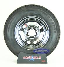 100 14 Inch Truck Tires ST20575D Bias Ply Tire Mounted On A Chrome 5 Lug Trailer Wheel