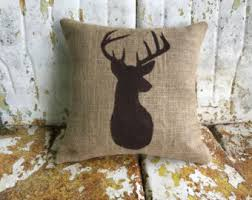 Deer Pillow Burlap Cotton Canvas Rustic Country DEER Throw Accent Custom Colors Available Home