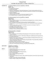 Download Junior Technical Writer Resume Sample As Image File