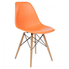 Emodern Decor Shell Side Chair by Eames Style Dsw Molded Orange Plastic Dining Shell Chair With Wood