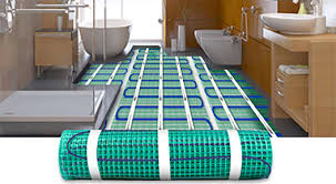heated tile floor systems on floor intended for electric heated