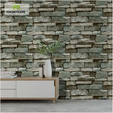 100 Modern Stone Walls US 199 HaokHome Faux Brick Wallpaper Vinyl For 3d PVC Grey Textured Realistic Rolls Living Room Bedroom Home Decorin Wallpapers
