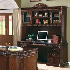 home office computer desk with hutch in rich dark finish for