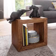 finebuy standregal massivholz sheesham 44 cm hoch cube regal design holzregal natur produkt beistelltisch landhaus stil dunkel braun wohnzimmer möbel