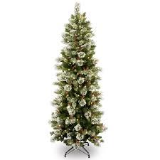Ge Slim Artificial Christmas Trees by 7 5 U0027 Pre Lit Slim Wintry Pine Artificial Christmas Tree With Cones