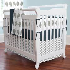 Navy and Gray Elephants Mini Crib Bedding
