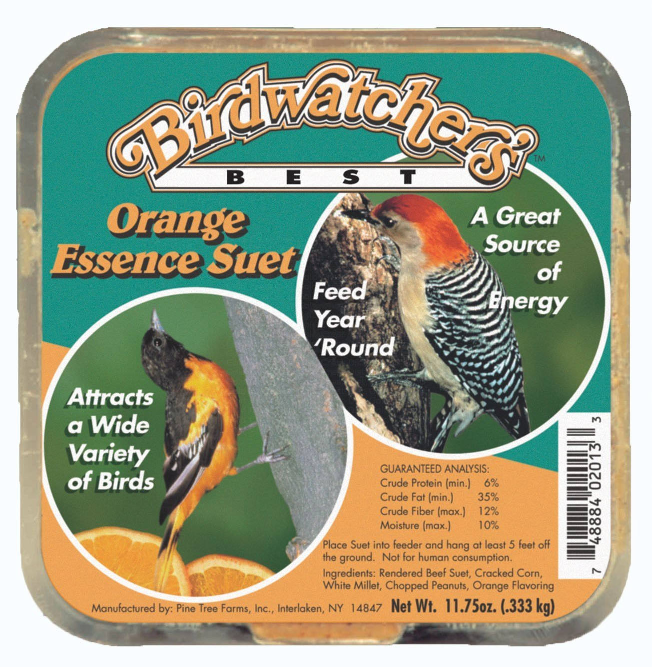 Pine Tree Farms PTF2013 Orange Essence Suet Cake Bird Treat - 11oz