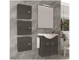 badezimmer badmöbel 55 cm aus eiche dunkel holz mit keramik waschtisch farbe dunkle eiche zubehör standard abmessungen 55 cm