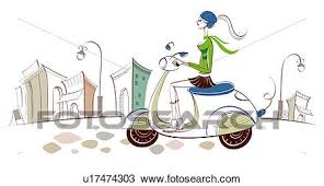Drawing Of Side Profile A Woman Riding Motor Scooter
