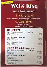 asia restaurant wok king speisekarte