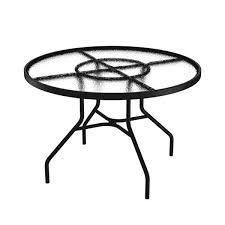 42 Acrylic Top Round Dining Table With Powder Coated Aluminum Frame