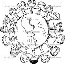 Children Holding Hands Around World Coloring Page Cute In Globe
