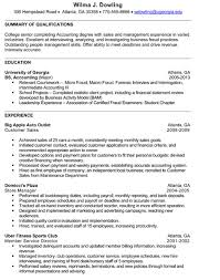 Ac Resume Cover Letter Examples Accounting Intern
