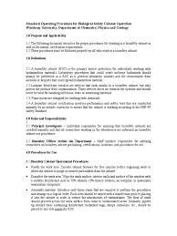 sop for biological safety cabinet operation chemistry nature