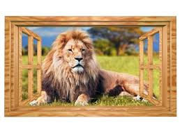 3d wandmotiv löwe savanne fenster afrika tiere wandbild selbstklebend wandtattoo wohnzimmer wand aufkleber 11e479