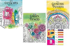 Adult Coloring Book Gift Set Of 3 Books With 12 Colored Pencils