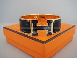 hermes h bracelet clic clac lacquered enamel black nib authentic