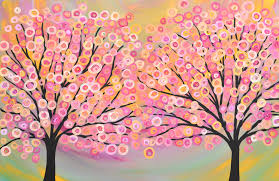 Iridescent Pink Gold Green Abstract Tree Painting The Art Colony Portfolios