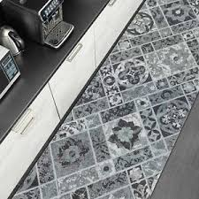 details zu küchenläufer waschbar teppich läufer kacheln ornament fliesenoptik grau 65cm