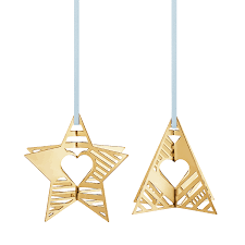 2019 Holiday Ornaments Star And Tree Gold Plated