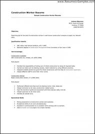 Resume Template Construction Worker Lovely Related Post