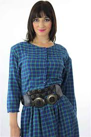 Vintage 90s Grunge Plaid Dress Blue Tartan Shirt Long Sleeve Mini M