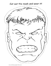 Free Printable Superheroes Hulk Face Cut Out Coloring Pages For Boy Online Print Mask Crafts Kids