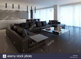 schwarzes ledersofa im wohnzimmer sarig house israel
