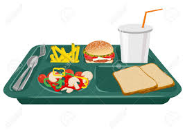 A School Lunch Tray On White Background With Copy Space Stock Vector