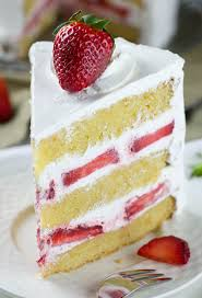 Strawberry Shortcake Cake layers of dense buttery and moist vanilla cake filled with fresh
