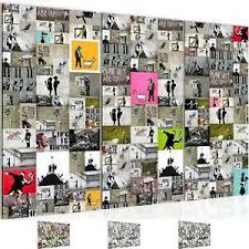 details zu wandbild modern wohnzimmer collage banksy bunt schlafzimmer deko bilder