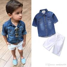 2018 Kids Boys Sets 1 7t Baby Boy Denim Shirts Short Pants Suits New Summer Toddler Infant Fashion Outfits Children Clothing B44 From Sandybai520