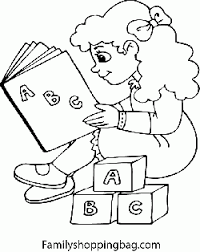 Girl Reading With Blocks Coloring Pages