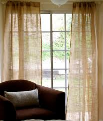 Pair Of Burlap Curtain Panel Shabby Chic