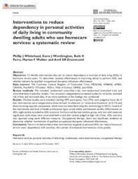 Interventions To Reduce Dependency In Personal Activities Of Daily