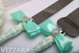 personalised wedding cake knife set Mint Wedding Mint Cake servers