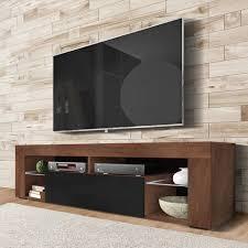 selsey bianko tv lowboard stehend in nussbaum schwarz hochglanz mit klappe 140 cm