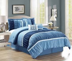 7 Piece Ruched Navy Blue forter Set