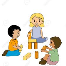 Kids Playing With Blocks Royalty Free Cliparts Vectors And Stock Inside Clipart