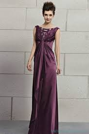 high neck satin purple twist evening dress with low back long
