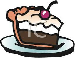 Clip Art Image A Slice of Chocolate Cake with a Cherry on Top