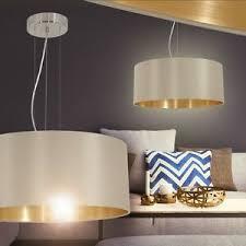 details zu design esszimmer leuchten pendelleuchte wohn zimmer hängele stoff gold braun