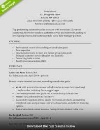 Sales Associate Resume Manager Level