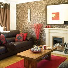 Living Room Ideas Brown And Red Fresh Leather Sofa Black Pillows Rectangular Rown Natural Wooden Dark
