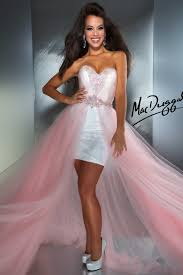 white high low prom dress with pretty pastel pink skirt clothes